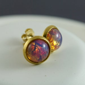 Image of Afira - Brass Fire Opal Studs