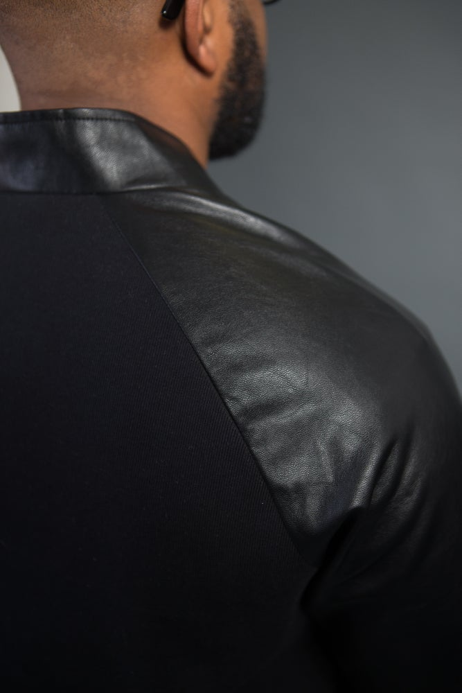 Image of David Leather Cardigan