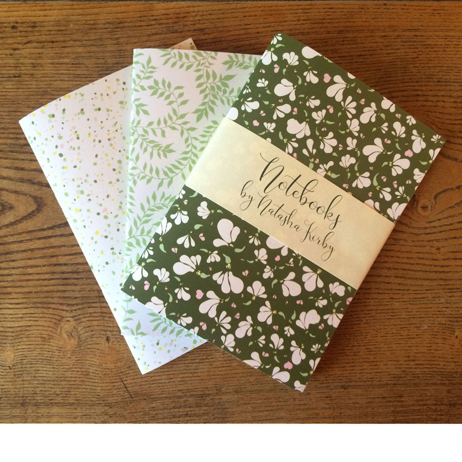 Image of A5 Notebooks - Set of 3 - Green Daisy