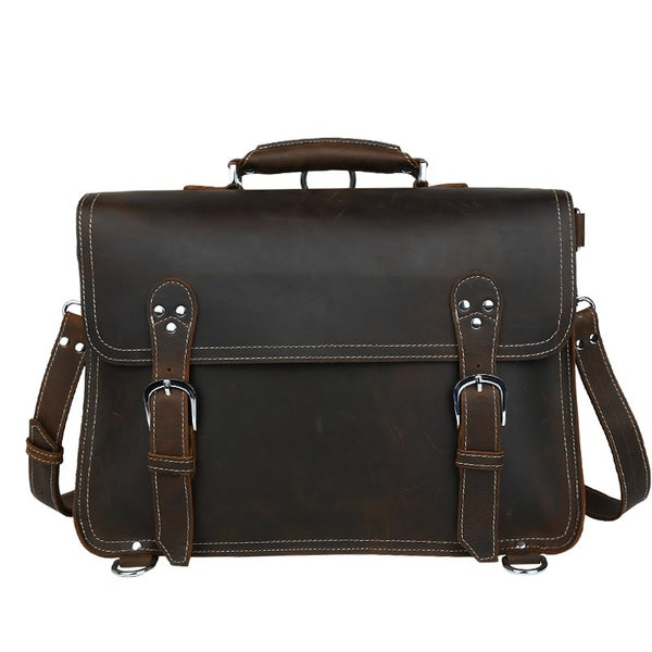 Image of Vintage Handmade Crazy Horse Leather Briefcase / Satchel / Laptop Bag - Backpack / Messenger (n94-2)
