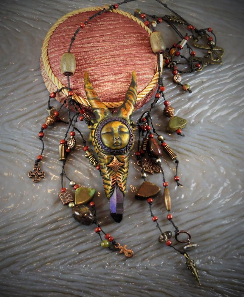 Image of Antelope Shapeshifter Medicine Woman - Colbalt Aura Quartz Crystal Amulet