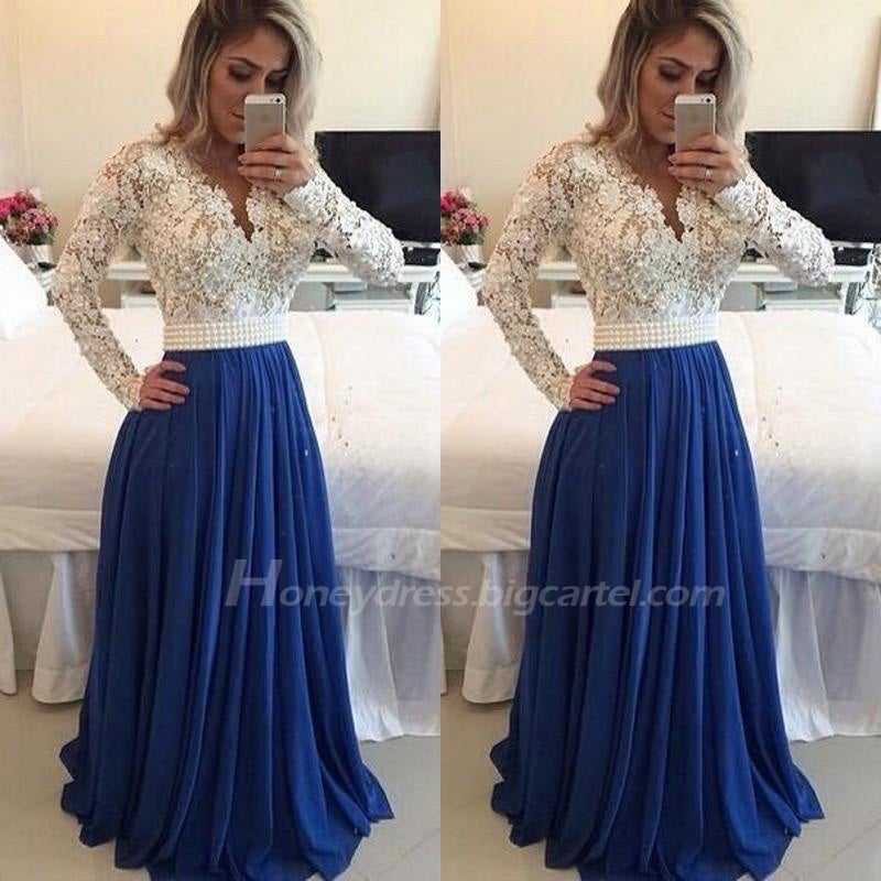 Honey Dress — Blue / Ivory Long Sleeves Prom Dress With Lace Bodice ...