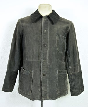 Image of 1910'S FRENCH BLACK MOLESKIN WORK JACKET FADED & patched