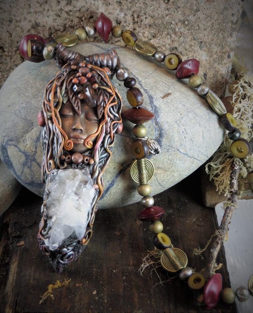 Image of Moon Maiden- Druzy Quartz Crystal Shamanic Pendant