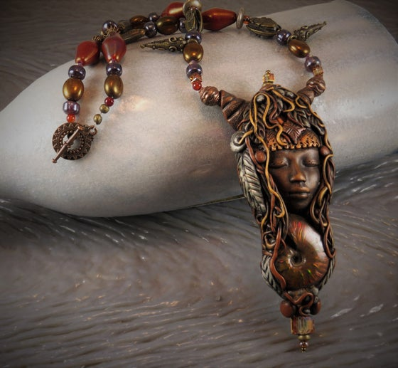Image of Mother of Creation- Opalized Ammonite Ceremonial Tribal Amulet