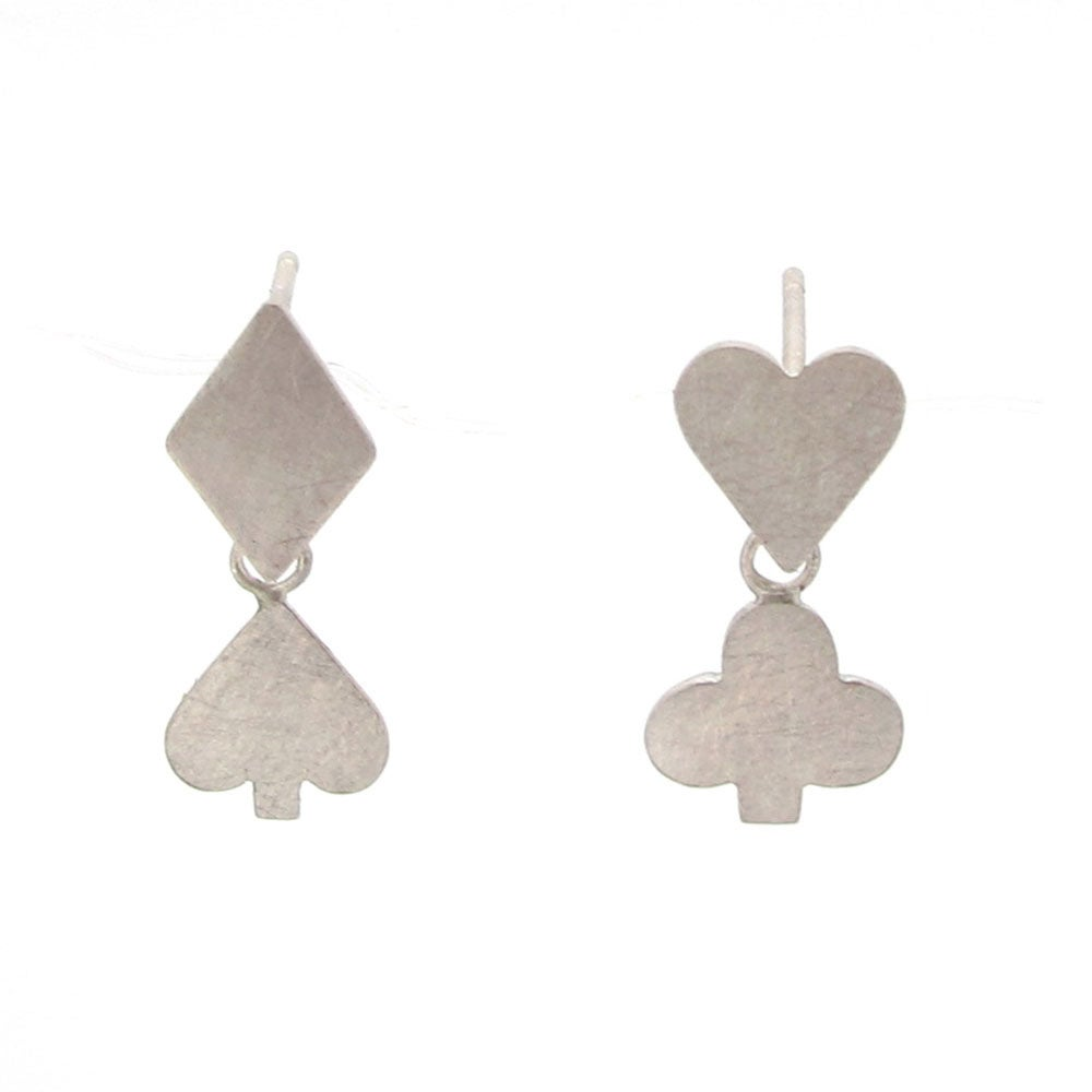 Image of {NEW} Wonderland Playing card suit earrings