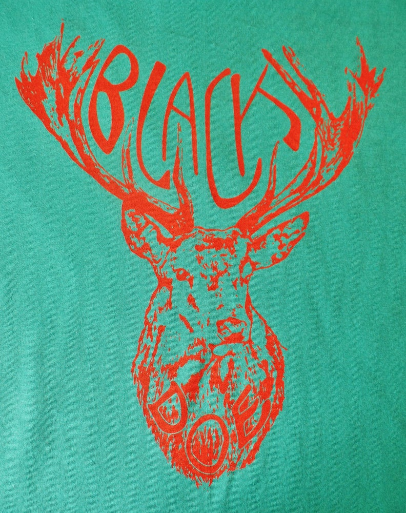 Image of Mary Epworth Black Doe T-Shirt - Aqua and Coral