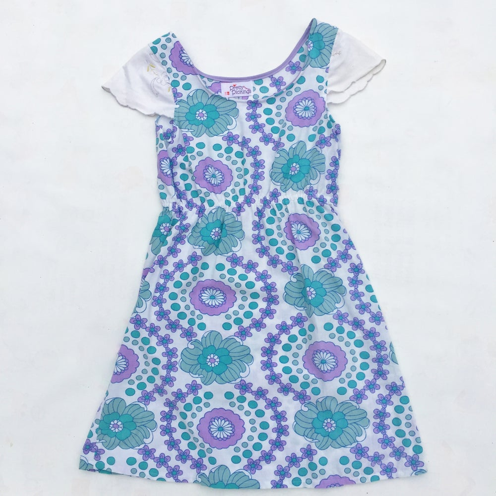 Image of Size 7 Doily sleeved dress - retro floral