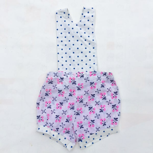Image of Baby Romper - size 12-18months - pink cherries