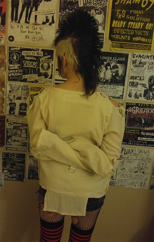 Image of A.C.A.B. bondage shirt on natural white gauze