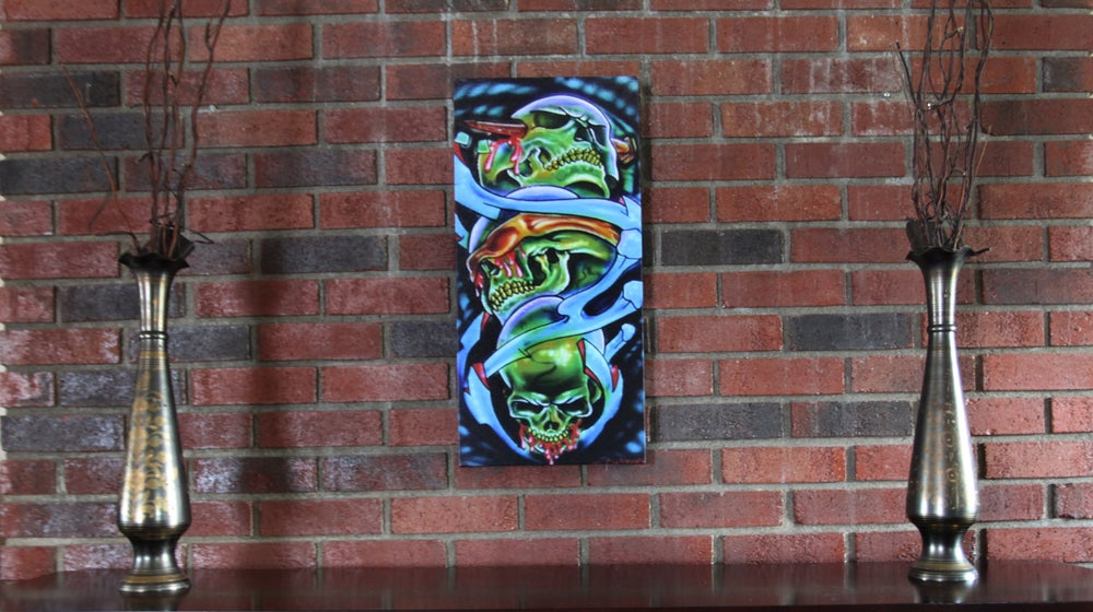 Image of Gallery wrapped canvas print see no evil skulls