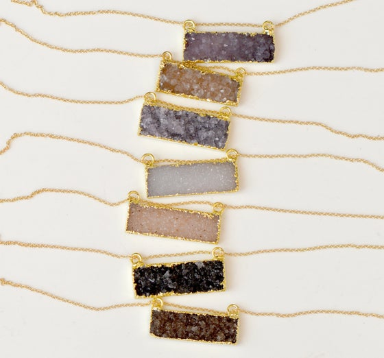 Image of Druzy Bar Necklace - Gold Edged Druzy Necklace - Bar Necklace - Crystal Bar Necklace