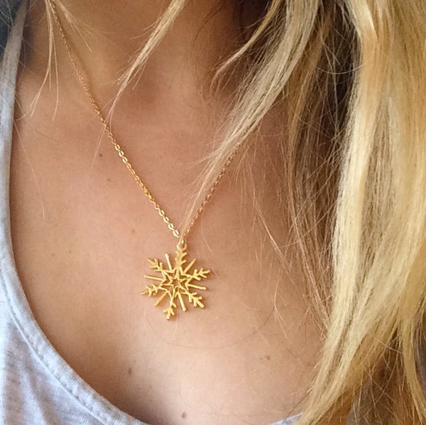 Image of Snowflake Necklace - Gold plated brass