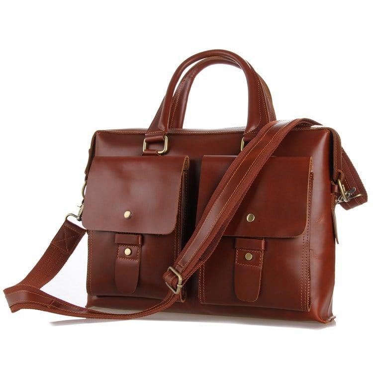 "Image of Handmade Leather Briefcase / Messenger / 13"" 15"" MacBook 13"" 14"" Laptop Bag (n43)"