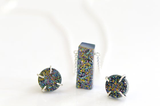 Image of Peacock Druzy EARRINGS and Bar Necklace Set
