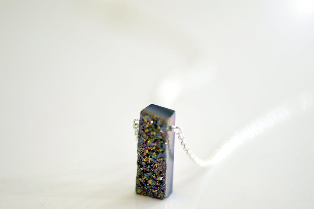 Image of Peacock Druzy Necklace - Rectangle Druzy Necklace