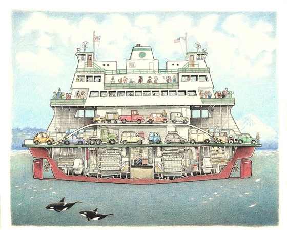 "Image of Washington State Ferry 15"" X 18"""