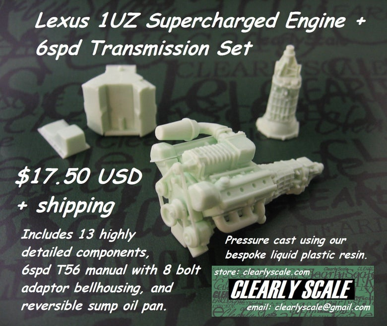 Image of Lexus 1UZ Supercharged V8 Engine + 6spd Transmission Set