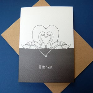 Image of Be My Swan Romantic Card Valentine's Anniversary in Grey