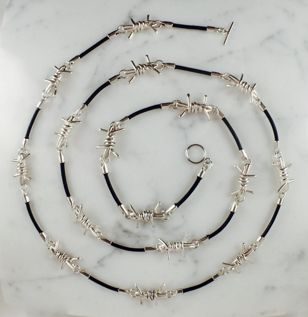 Image of Barbwire and Leather Necklace
