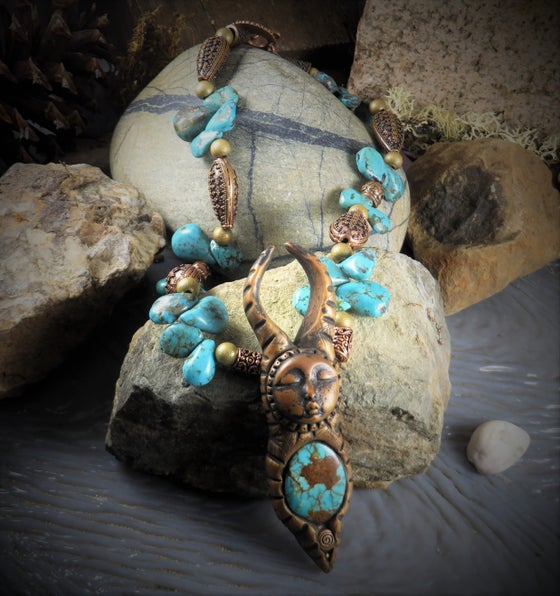Image of Earth Deva- Turquoise and Copper Zemi Necklace