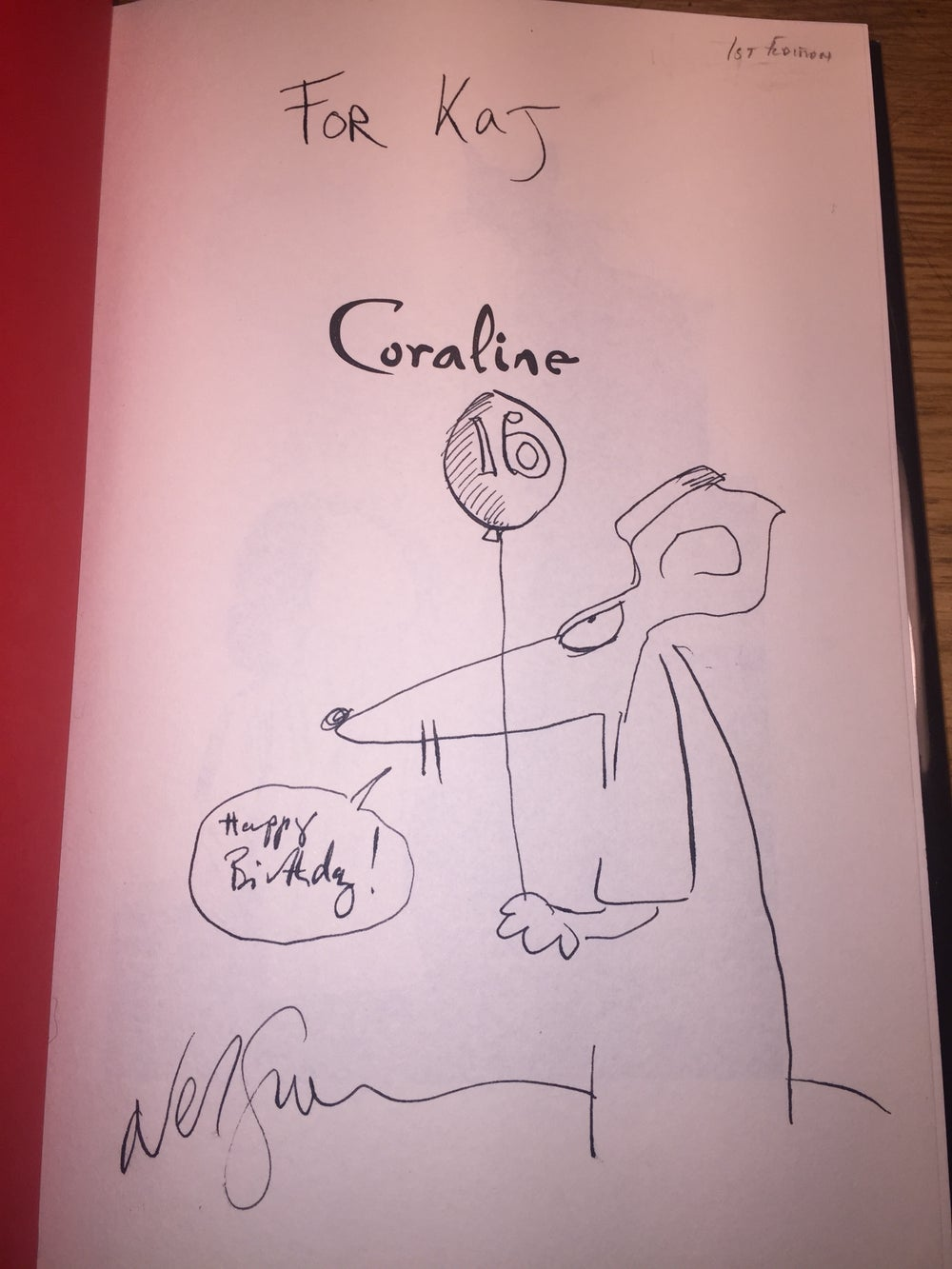 Signed First Edition Coraline Book With Drawing By Neil Gaiman Memeticengineone