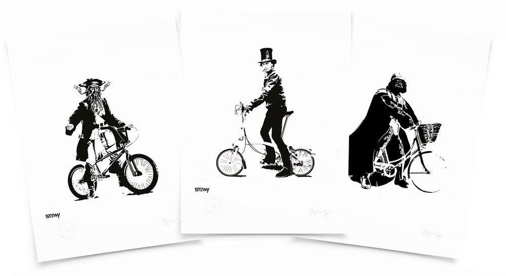 Image of Bristol Cyclists - Blackbeard/Brunel/DarthVader Digital A3 print