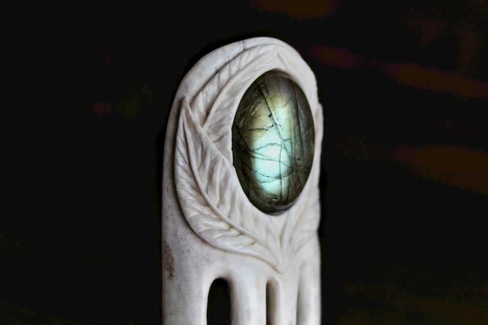 Image of Leafed Labradorite - Inlaid Antler Hair Fork - Teal