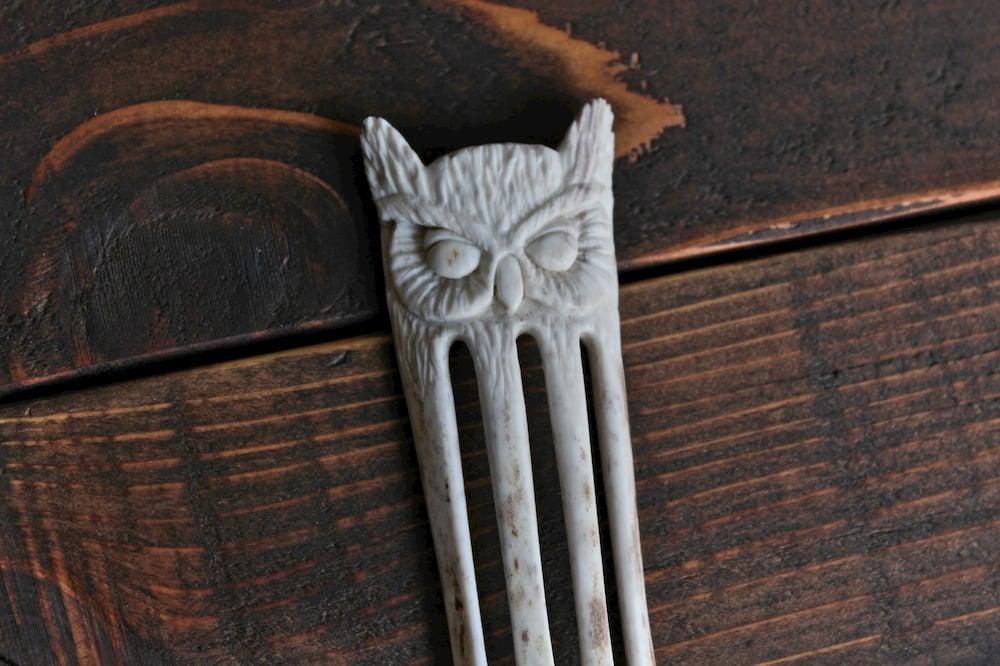 Image of Great Horned Owl - Antler Hair Fork