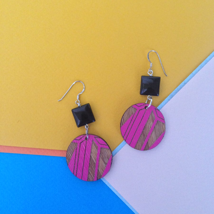 Image of segment tile drop wooden danglers (various colours)
