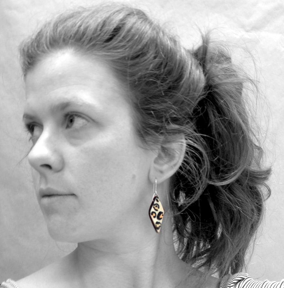 Image of Diamond Orange Leopard Print Dangle Earrings with Sterling Silver Wire Hooks