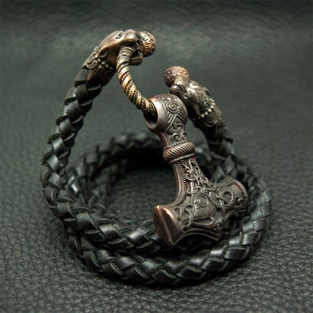 Image of Thor's Hammer : MJOLNIR DARK - Pantera Leather Necklace