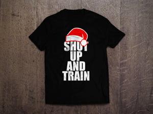 Image of Mens Christmas Shut Up & Train Blk/White Tshirt