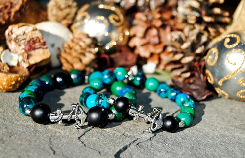 Image of 👫Couples Lapis Chrysocolla and Matte black Onyx bracelet set