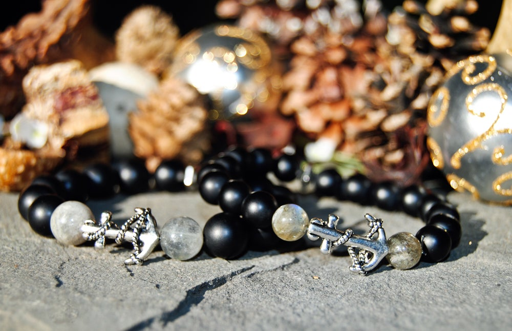 Image of d👫Couples matte black Onyx and Labradorite bracelet set