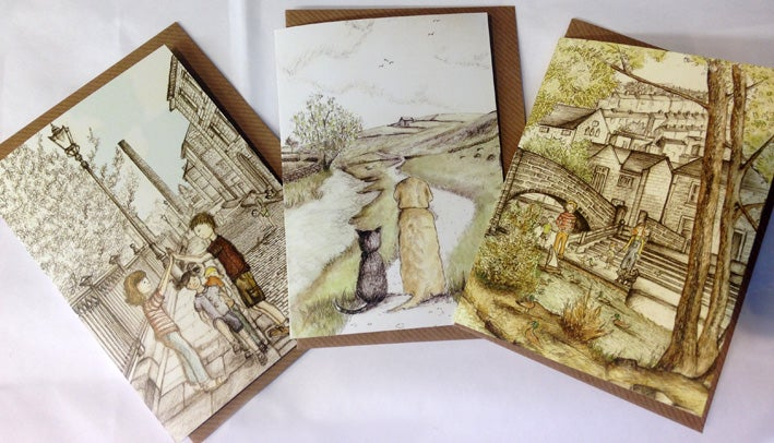 Image of Set of Three Cards by Rebecca Carr (Sunny Side, Armed with Bread, Together We Can)