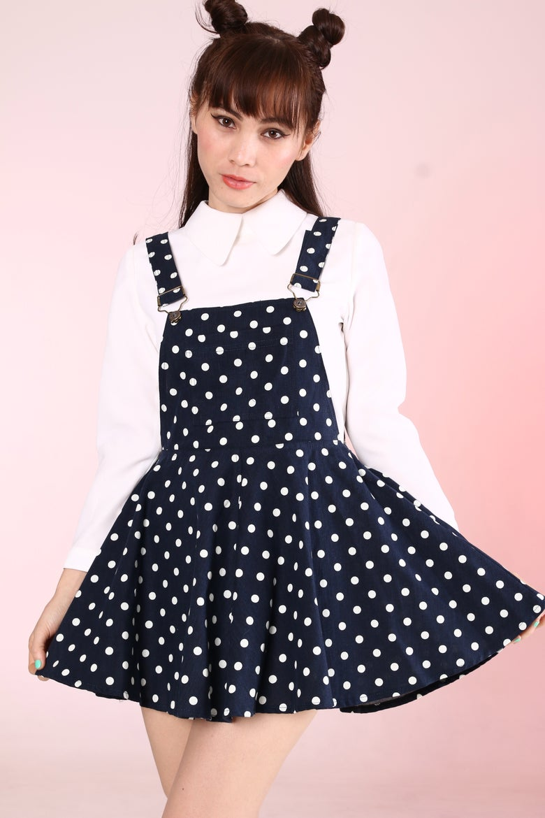 Image of Ready To Post - Navy Polka Dot Pinafore