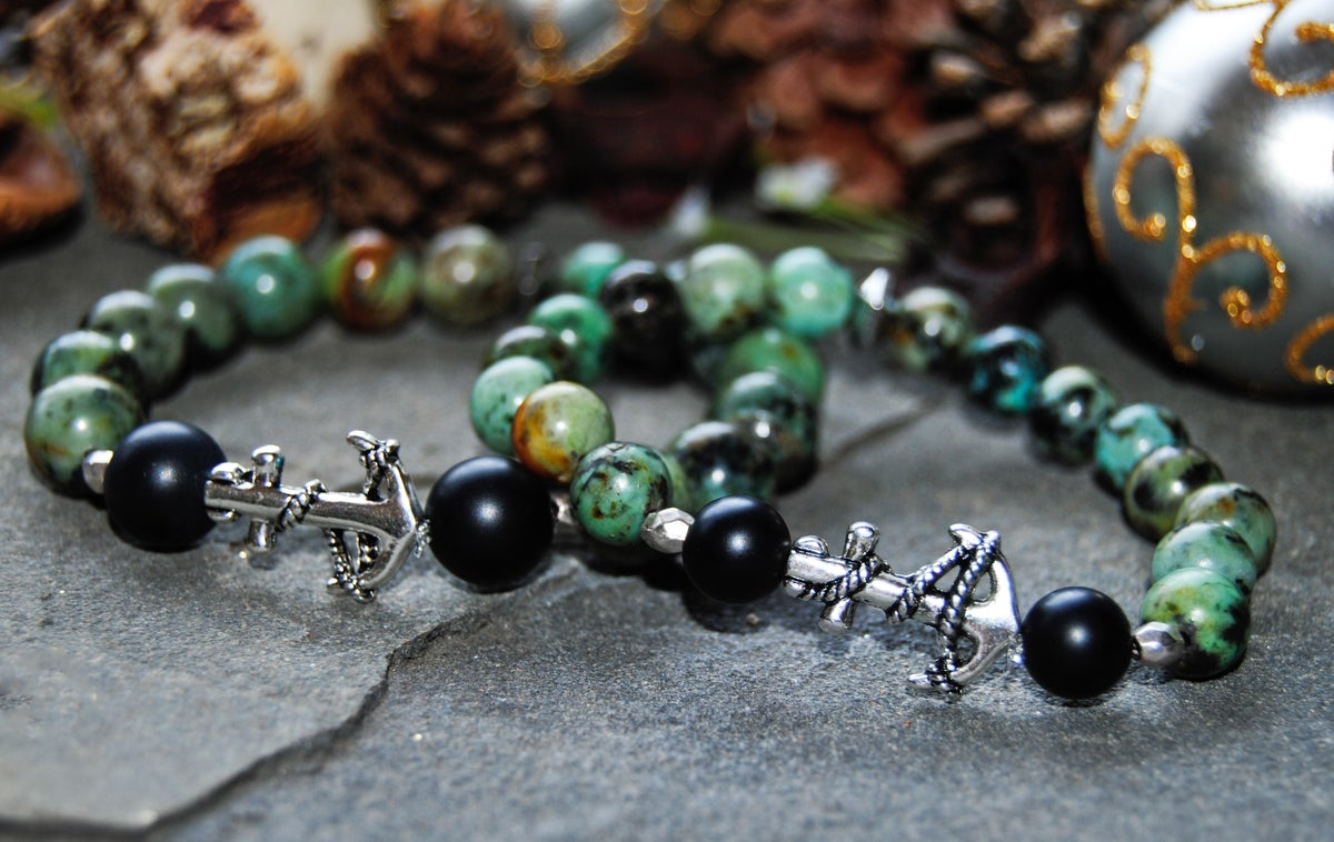 Image of 👫Couples African Turquoise and Matte black Onyx bracelet set