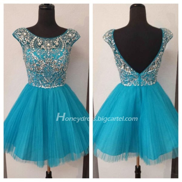 Image of Blue Cap Sleeves Tulle Illusion Beading Cocktail Dress With V Back Zipper