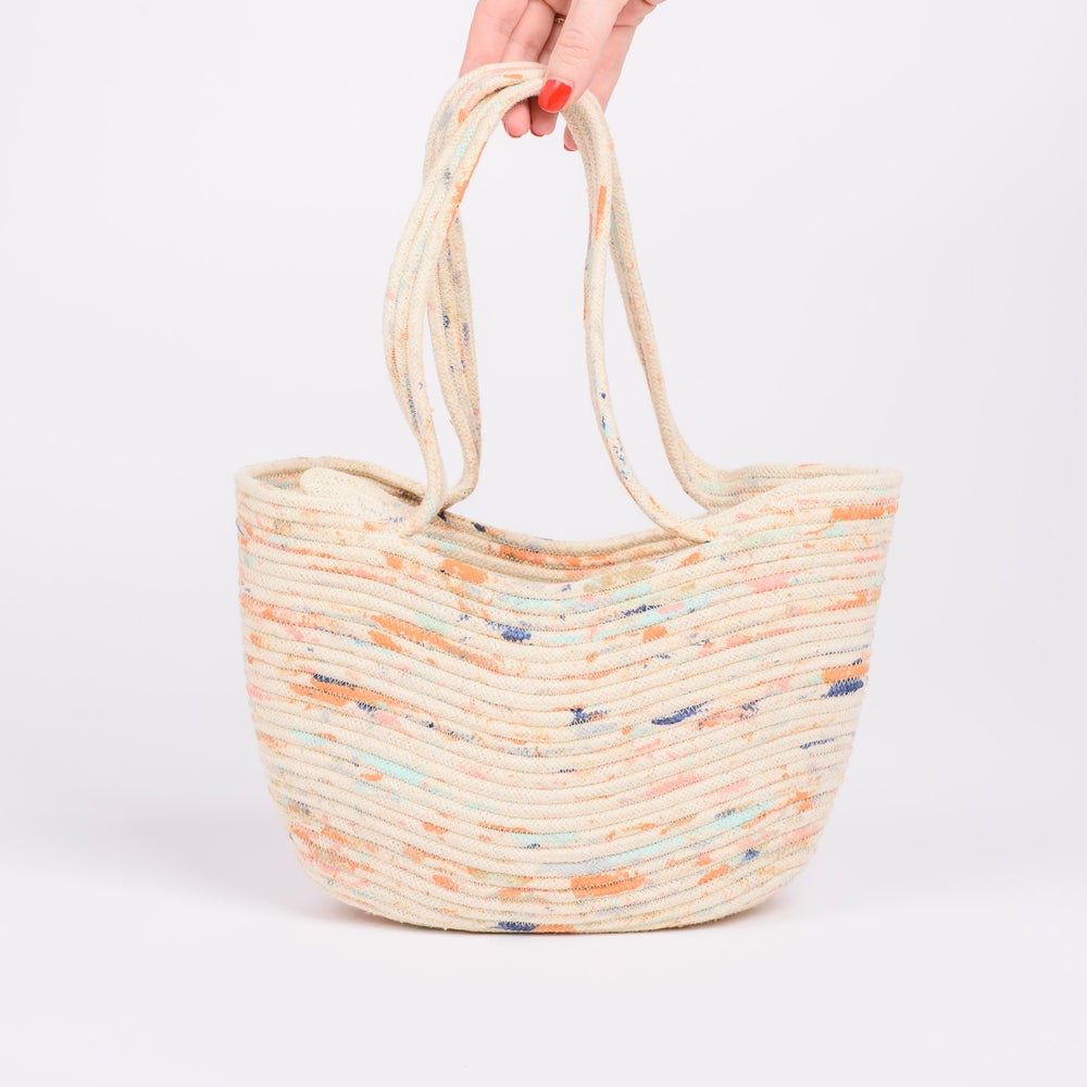 Image of Hand Made & Hand Painted Rope Market Basket
