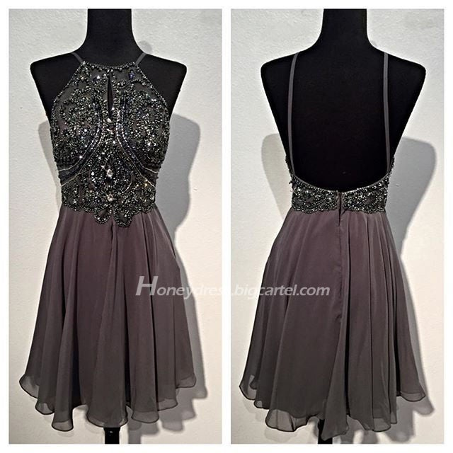 Image of Grey Chiffon Halter Beaded Bodice Cocktail Dress With Zipper