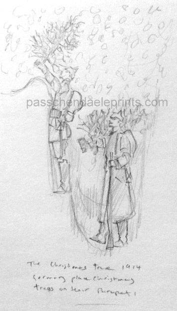 Image of THE CHRISTMAS TRUCE 1914 ORIGINAL DRAWING THE XMAS TREE