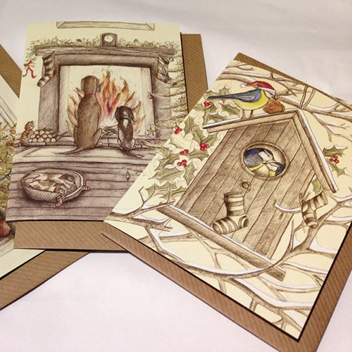 Image of Set of Three Christmas Cards by Rebecca Carr (Birdhouse, Christmas Tree, Dogs by the Fire)