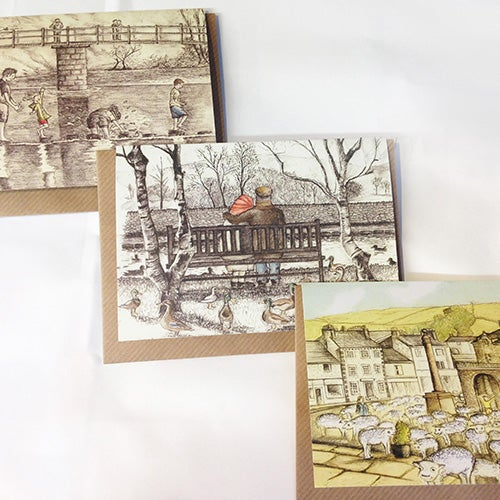 Image of Set of Three Cards by Rebecca Carr (Sundays, They Never Tired, They All Flocked To Settle)