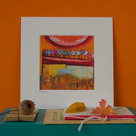 Image of Sunset – (mixed media)  Open Edition mini Print by Helen Hallows (C)