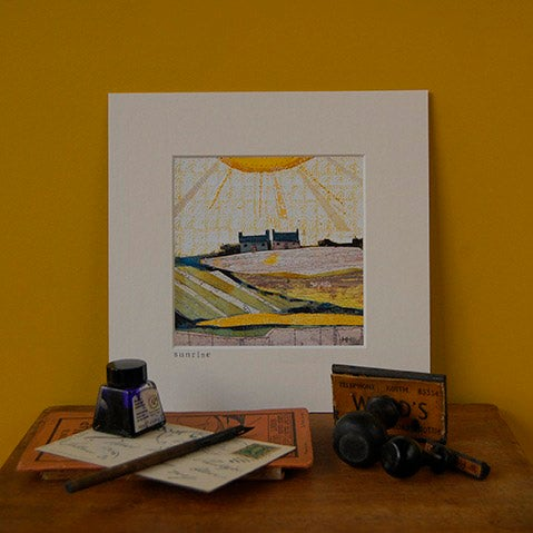 Image of 'Sunrise' Open Edition mini Print by Helen Hallows (mixed media)
