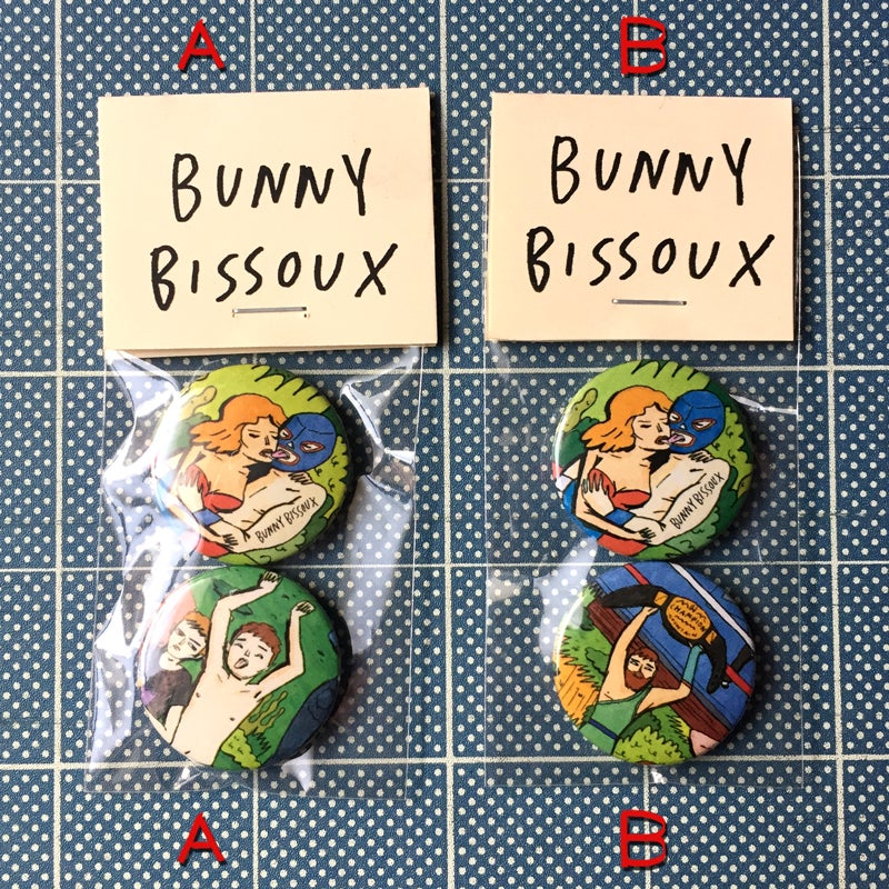 Image of BUNNY BISSOUX 'WRASSLIN' 2 x pin badge set