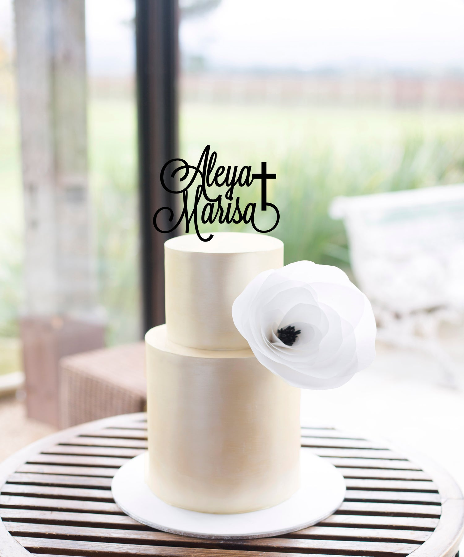 Image of Double Name Cross Cake Topper