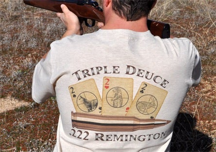 "Image of .222 Remington T-Shirt - ""Triple Deuce"""
