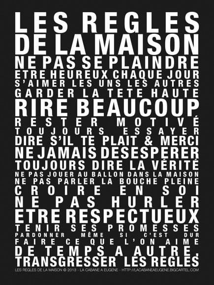 """Image of Affiche """"Les Règles de la Maison"""""""